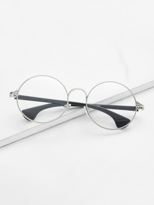 Shein Silver Frame Black Arm Clear Lens Glasses