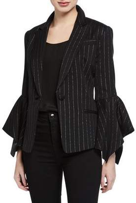 Milly Metallic Pinstripe Bell-Sleeve Blazer Jacket