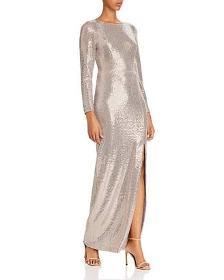 Eliza J Sequin Long-Sleeved Gown