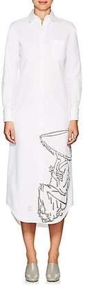 Thom Browne WOMEN'S EMBROIDERED COTTON CALF-LENGTH SHIRTDRESS - WHITE SIZE 38 IT