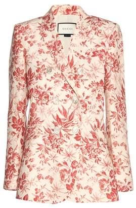 Gucci Floral-printed linen blazer