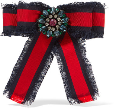 GucciGucci - Frayed Cotton-grosgrain And Crystal Brooch - Red