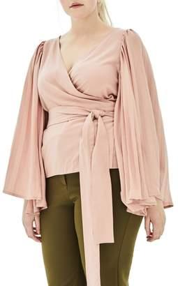 ELVI The Luster Pleat Sleeve Wrap Top