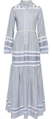 Dodo Bar Or Embellished Embroidered Cotton-gauze Maxi Shirt Dress