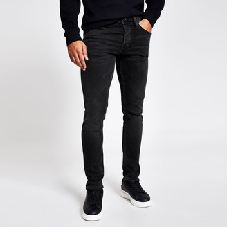 River Island Mens Black fade detail Dylan slim fit jeans