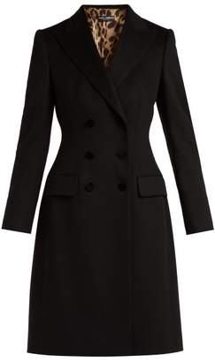 Dolce & Gabbana Double Breasted Wool And Cashmere Blend Coat - Womens - Black