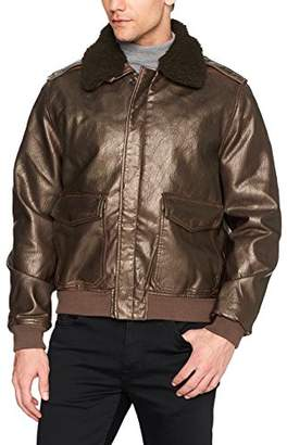 William Rast Men's Faux Leather Rugged Aviator Bomber Jacket