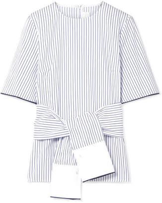 Victoria Beckham Victoria, Tie-front Satin-trimmed Striped Cotton-poplin Top - White
