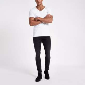 River Island White scoop neck muscle fit T-shirt