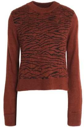 Ganni Zebra-Print Jacquard-Knit Sweater