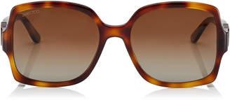 Jimmy Choo SAMMI Brown Shaded Polorized Square Sunglasses with Dark Havana Frame