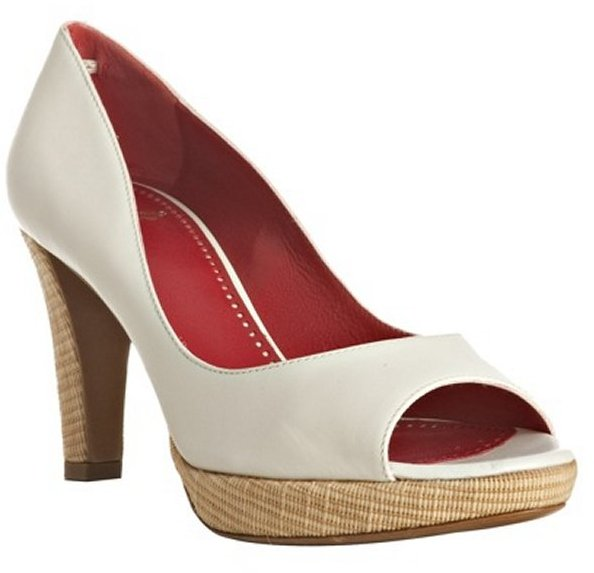 Moschino Cheap and Chic white leather peep toe platform pumps