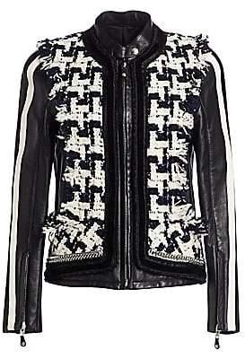 Alexander Wang Women's Oversized Tweed & Leather Hybrid Jacket