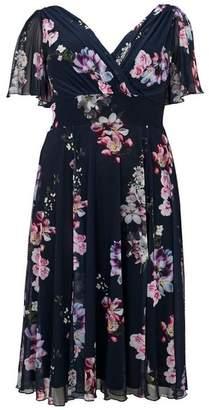 Evans Scarlett & Jo Navy Angel Sleeve Print Midi Dress