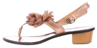 Lanvin Floral Satin Thong Sandals