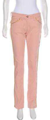 Isabel Marant Embroidered Mid-Rise Jeans Pink Embroidered Mid-Rise Jeans