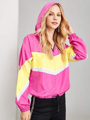 e91540b12d Shein Cut and Sew Zip Front Hoodie Jacket