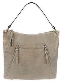 B. Makowsky B.Makowsky Sun Washed Croco Embossed LeatherHobo Bag