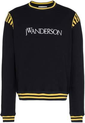 J.W.Anderson navy logo embroidered stripe cotton sweatshirt
