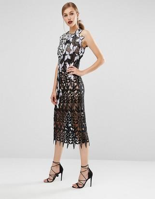 Self Portrait Lace patchwork Midi Dress $582 thestylecure.com