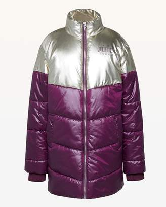 Juicy Couture JXJC Metallic Colorblock Puffer Coat