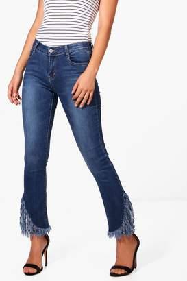 boohoo Midrise Fray Hem Flared Jeans