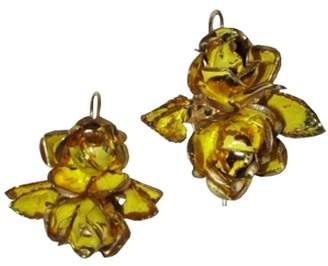 Alberto Juan Sterling Silver 14K Gold Vermeil and Yellow Enamel Flower Dangle Earrings