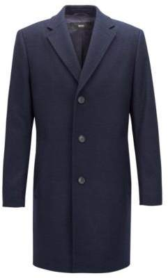 BOSS Hugo Single-breasted coat in a patterned wool 36R Open Blue