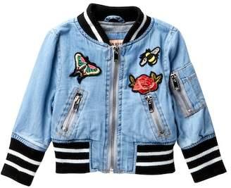 Urban Republic Chambray Varsity Jacket (Baby Girls)