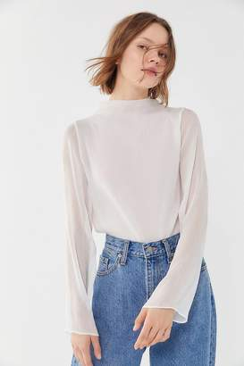 55f640c7 Urban Outfitters Catherine Sheer Chiffon Mock Neck Blouse