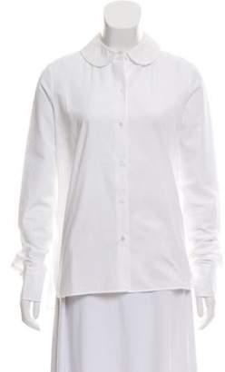 American Retro Rounded Collar Button-Up Top White Rounded Collar Button-Up Top