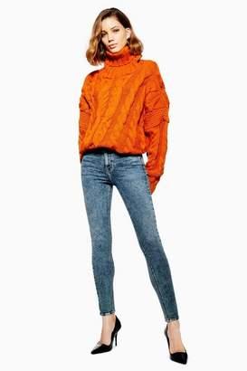 Topshop Womens Indigo Acid Jamie Jeans