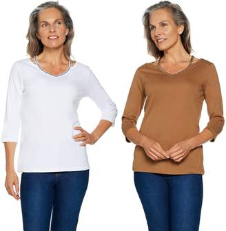 Factory Quacker Set of 2 Chic Sparkle Cut-Out V-Neck Knit T-shirts