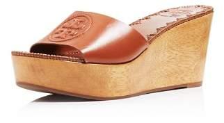 Tory Burch Women's Patty Leather Platform Wedge Slide Sandals