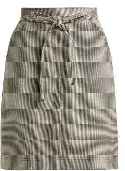 ALEXACHUNG Puppytooth A Line Wool Blend Skirt - Womens - Black White