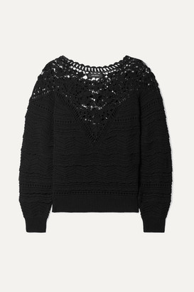 Isabel Marant Camden Crocheted Cotton Sweater - Black