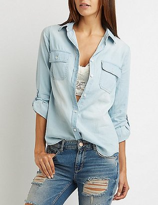 Chambray Button-Up Pocket Shirt $25.99 thestylecure.com