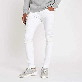 River Island White Danny super skinny ripped jeans