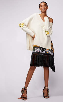 Oscar de la Renta Off Shoulder Wide Neck Embroidered Sweater