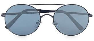 Topman Mens Navy Round Mirrored Sunglasses