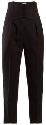 Saint Laurent High Rise Twill Trousers - Womens - Black