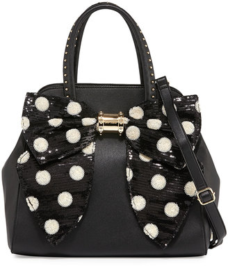 Betsey Johnson Oh Bow Sequined Faux-Leather Satchel Bag, Black/Cream Dot $105 thestylecure.com