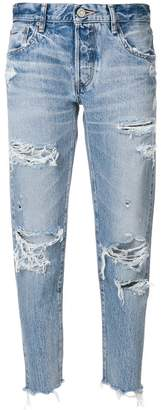 Moussy distressed straight jeans