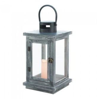 Gallery of Light DISTRESSED GRAY LANTERN WITH LED CANDLE