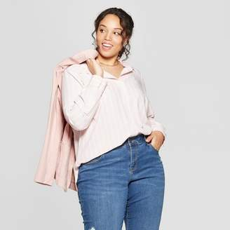 Ava & Viv Women's Plus Size Striped Long Sleeve Collared Button-Down Blouse Pink