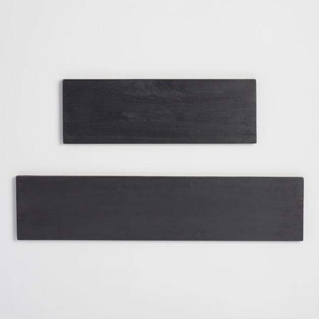 Black Wood Mix & Match Wall Shelves