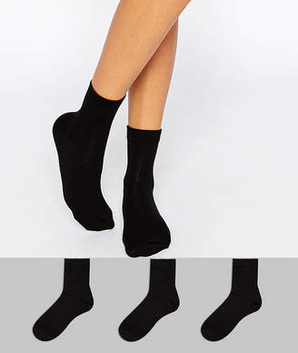 Asos DESIGN 3 pack ankle socks black