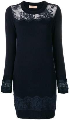 Twin-Set lace panel sweater dress
