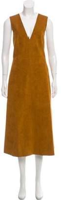 Tibi Sleeveless Suede Midi Dress
