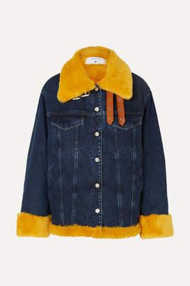 Marques Almeida Marques' Almeida - 7 For All Mankind Oversized Shearling-trimmed Denim Jacket - Dark denim